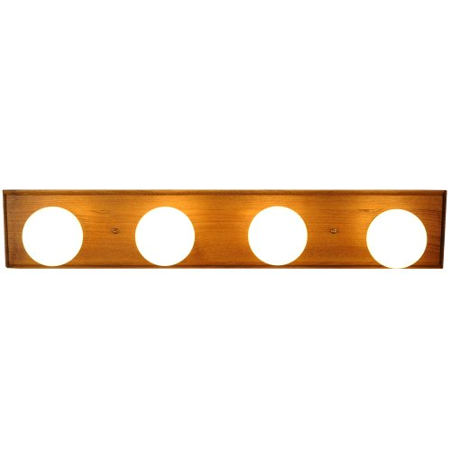 Monument 671608  Vanity Lighting Strip, Oak With Polished Brass Trim, 24 In.
