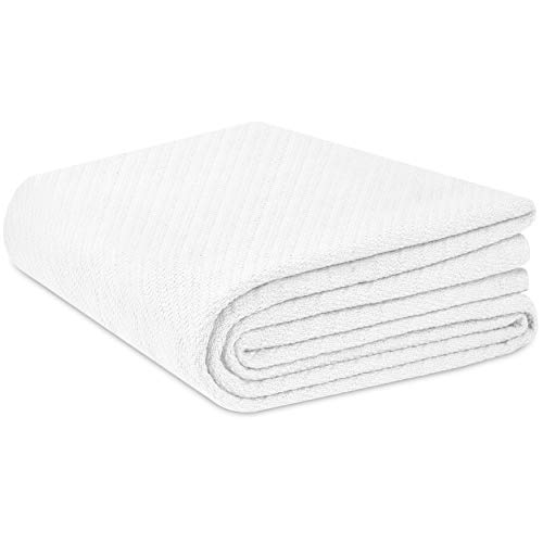 COTTON CRAFT - 100% Soft Premium Cotton Thermal Blanket - Full/Queen White - Snuggle in These Super Soft Cozy Cotton Blankets - Perfect for Layering Any Bed - Provides Comfort and Warmth for Years (White Blankets)