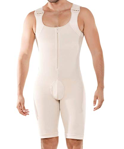NBVIC Mens Shapewear Tummy Control Bodysuit Slimming Compression Body Shaper Fajas Girdle Undershirts Thighs Open Crotch