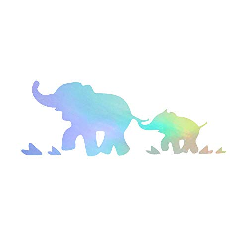 Set Elephant Decal - ANGDEST Elephants Happy Family (Hologram) (Set of 2) Premium Waterproof Vinyl Decal Stickers for Laptop Phone Accessory Helmet Car Window Bumper Mug Tuber Cup Door Wall Decoration