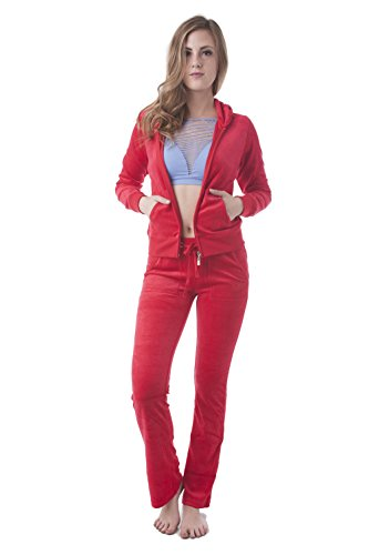 (Velour Classic Hoodie Sweat Suit Jacket and Pants Set Velvet Tracksuit with Pockets (3XL, Red))