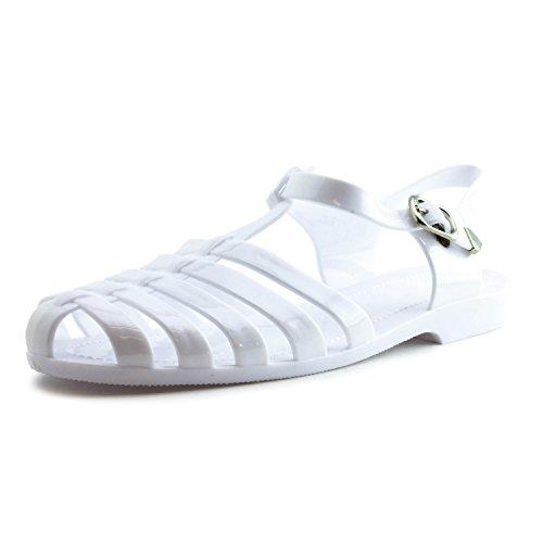 [Women's Soft Retro Jelly Buckle Closure Sandals Womens White 6 1/2] (Retro Buckle)