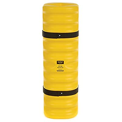 "Eagle 1704 Blow-Molded High Density Polyethylene Column Protector for 4""-6"" Column with Easy to Install Straps, Yellow, 13"" Length, 13"" Width, 42"" Height"