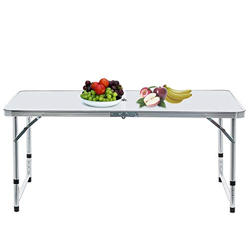 Hstore Desk, Portable Camping Table for 4 People Folding Aluminum Picnic Party Table/Outdoor with Umbrella Hole White (Ship from USA) Send 4 ()