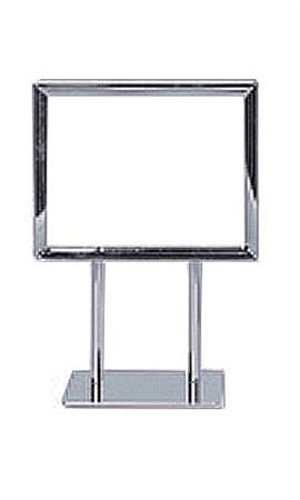 Double Sided Twin Stem Metal Sign Holder in Chrome Finish 5½ x 7 Inches