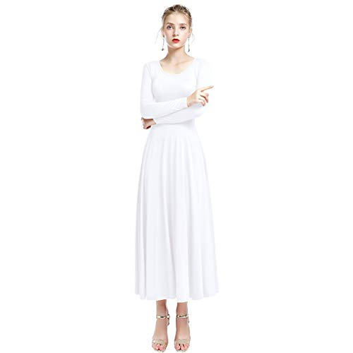 ong Sleeve Full Length Loose Fit Swing Liturgical Dance Dress Prime Tunic Circle Skirts White L ()