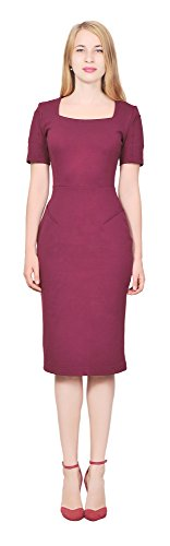 Red Square Neck Dress - 7