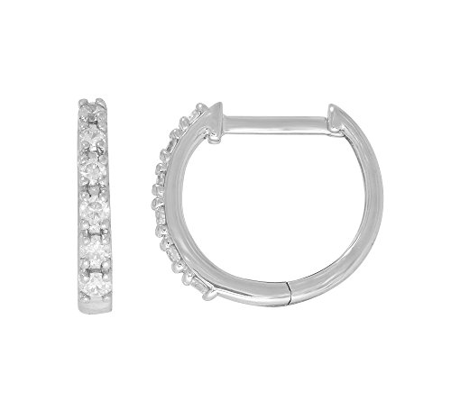 10K White Gold 0.25 ct. t.w. Diamond Hoop (0.25 Ct Tw Hoop)