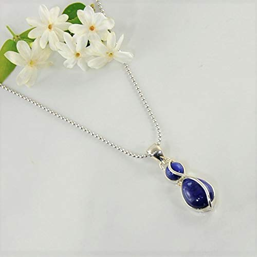 0efb99268 Amazon.com: SIVALYA Talisman Lapis Lazuli Pendant Necklace in ...