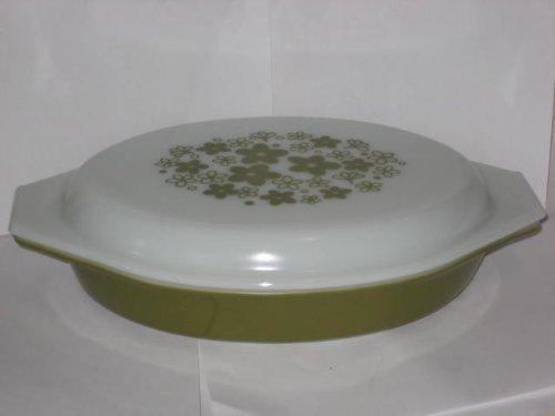 Vintage 1970's Pyrex Green & White Spring Blossom Divided Oval Cinderella 1 Quart Casserole Baking Dish w/ Lid