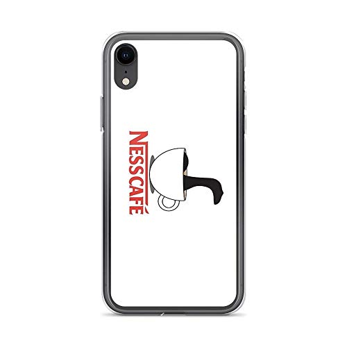 iPhone XR Case Clear Anti-Scratch Nesscafe, Funny Coffee Nessie Ness nescafe Monster Drink Pun Trendy red White Cover Phone Cases for iPhone XR, Crystal Clear]()