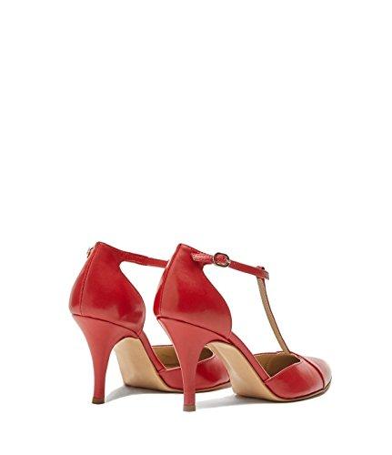 Poi Lei Scarpe Da Donna Stringate Con Cinturino In Pizzo Paloma Vera Pelle Red Made In Italy-