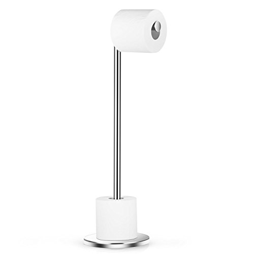 Naturous 430 Stainless Steel Toilet Paper Holder, Free Standing Lavatory Pedestal Toilet Paper Stand with Reserve ()