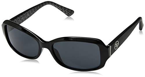 (GUESS Women's Gu7410 Rectangular Sunglasses, Shiny Black & Smoke, 55 mm)