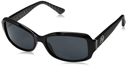 GUESS Women's Gu7410 Rectangular Sunglasses, Shiny Black & Smoke, 55 mm ()