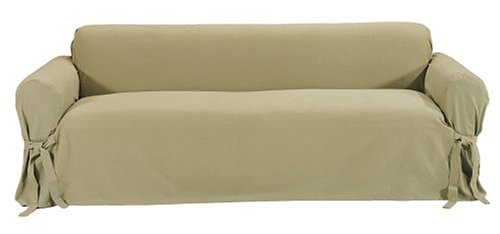 Classic Slipcovers Brushed Twill Sofa Slipcover, Khaki (Cotton Twill Cover)