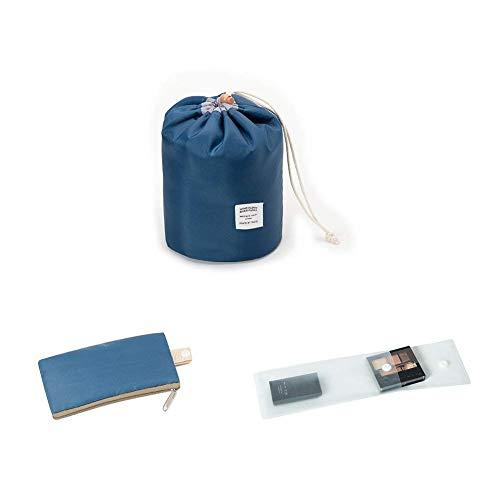 Zoevan Waterproof Cosmetic Bags Makeup Bag Travel Barrel Cases Kit Organizer Bathroom Storage Carry Case Toiletry Bags Multifunctional Bucket Toiletry Bag Polyester 300T (Dark Blue)