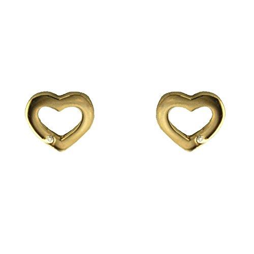 18K Tiny Diamond open heart post earrings 6.87 mm, 0.27 - Flower Earrings Open Diamond