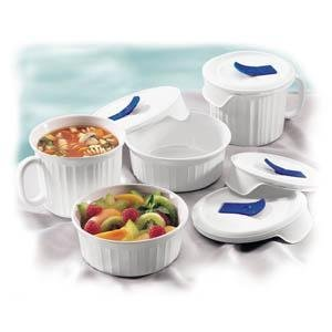Corningware French White Mug, Soup Bowls and Lids, 8 Pieces