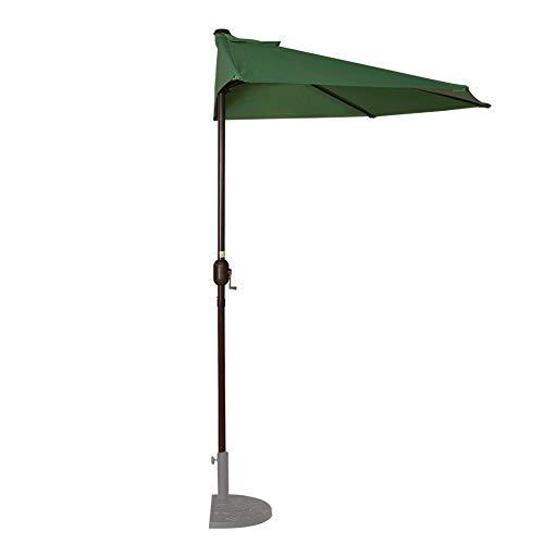 Sundale Outdoor 9 Feet Steel Half Umbrella Table Market Patio Umbrella with Crank and Strap for Garden, Deck, Backyard, Pool, 5 Steel Ribs, 100% Polyester Canopy (Dark Green)