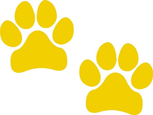 Paw Prints, Yellow, Pawprints, Paws, Dog, Puppy, Pup, Mutt, Canine, Print, Car, Auto, Wall, Locker, Laptop, Ipad, Notebook, Netbook, Vinyl, Sticker, Decal, Label, Placard, (YELLOW)