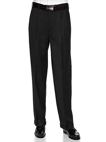 GIOVANNI UOMO Mens Wool Dress Pants Expandable Waist - Pleated Front Paul Bernado Collection Black - Wool Blend 42W x 32L (Wool Front Zip Pants)