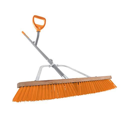 Ergieshovel ERG-PSHB24 24 in,Pro Grade Indoor/Outdoor w/54 in Steel Shaft Push Broom, Gray/Orange