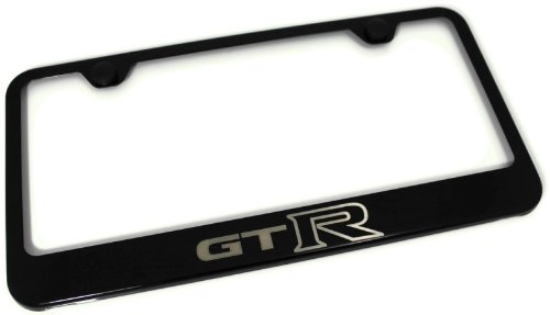 amazoncom nissan gtr laser etched frame black gloss license plate frame automotive