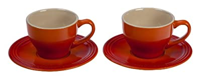 Le Creuset Stoneware Set of 2 Cappuccino Cups and Saucers, Flame