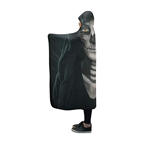 YUMOING Hooded Blanket Halloween Concept Makeup Girls Image Blanket 60x50 Inch Comfotable Hooded Throw Wrap -