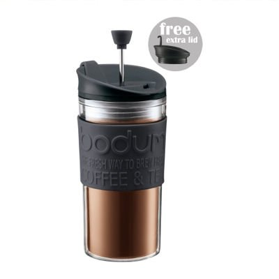 BODUM TRAVEL PRESS Coffee/Tea maker with extra lid 0.35l /12 oz Black K11102BL