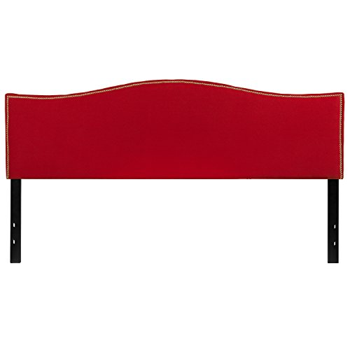 Flash Furniture Lexington Upholstered King Size Headboard with Decorative Nail Trim in Red ()