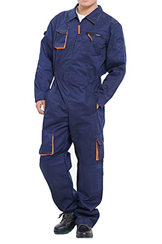 - Hakjay Mens Mechanic Coveralls Work Overall Flame Resistant Overalls with Multi Pockets Navy Blue