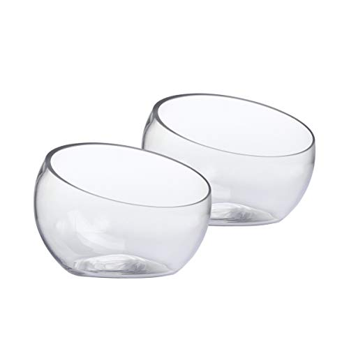Whole Housewares Glass Slant Cut Bowl, Glass Terrarium, Globe Plant Vases, Candle Holders, Candy Jar Set of 2 - Glass Candy Bowl