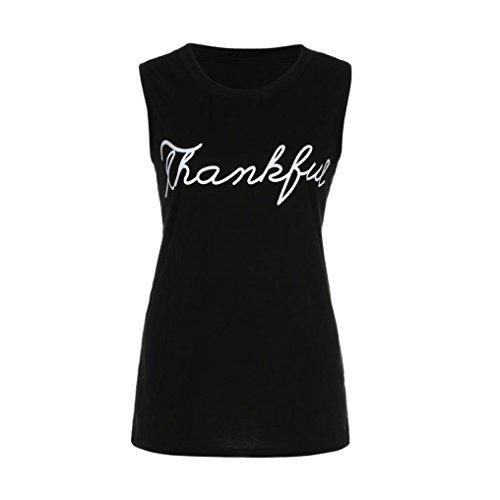 manches Blouse shirt Tefamore Lettre ❤️Femmes T sans Noir Print Tops Vest Crop débardeurs PqFwFv6Y