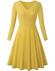 LONGYING Women's Solid Color Casual Vintage Cross V-Neck Long Sleeves Dress Elegant Swing Midi Dress