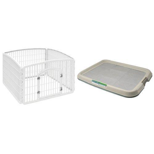 IRIS 4-Panel with Door Plastic Pet Playpen and IRIS Medium Pet Training Pad Holder, Blue (Plastic Exercise Pens)