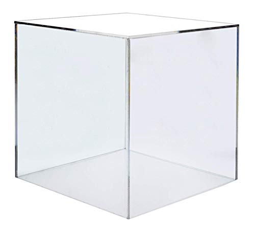 Marketing Holders Show Case 5 Sided Cube Retail Riser Advertisement Display Art Pedestal Museums Wedding Receptions Venues Jewelry Display (1, 12 Inch)
