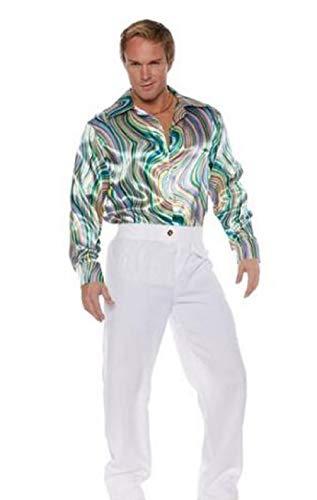 - Underwraps Men's Retro Disco Costume Shirt-Green Swirls, Double X-Large