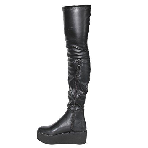 Beston EJ55 Damen Stretchy Snug Fit Plattform Keil Overknee High Boots Schwarz