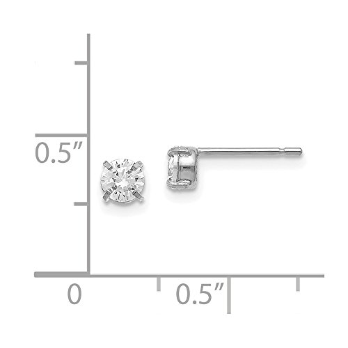 Leslies 14K White Gold Cz Stud-4.0mm Earrings by Jewels By Lux (Image #1)