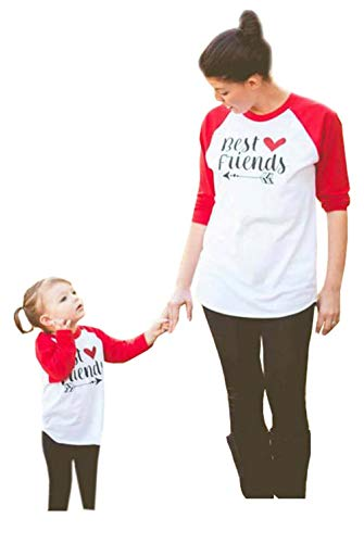 Family Matching Clothes Letter Print Round Neck Long Sleeve T-Shirt Mommy and Me Matching Tee Blouse(Red,Mom/XXL)