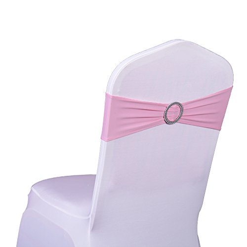 100PCS Stretch Wedding Chair Bands With Buckle Lycra Slider Sashes Bow Decorations 25 Colors - Pink Tiffany