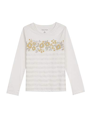 Nautica Toddler Girls' Long Sleeve Holiday Fashion Graphic Tops, Cream, 2T