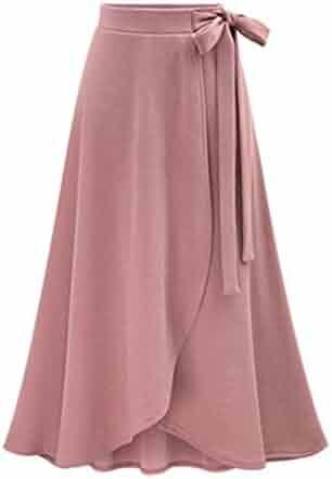 4e322c3a4 JANYN Ladies Irregular Bowknot Super Elegant Split Side Tulip Hem Midi Skirt