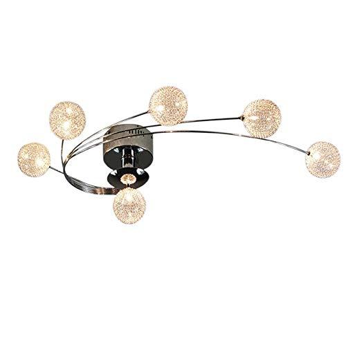 MUTANG Creative Whirl Design LED Ceiling Light Chrome Iron Pendant Ceiling Lamp Round Glass Shade Chandelier for Living Room Bedroom Kitchen Dining Room Hallway Foyer Bar Loft