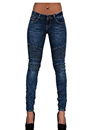 66f511300c4a4 xiaohuoban Women Moto Biker Stretch Skinny Jeans Denim Pants