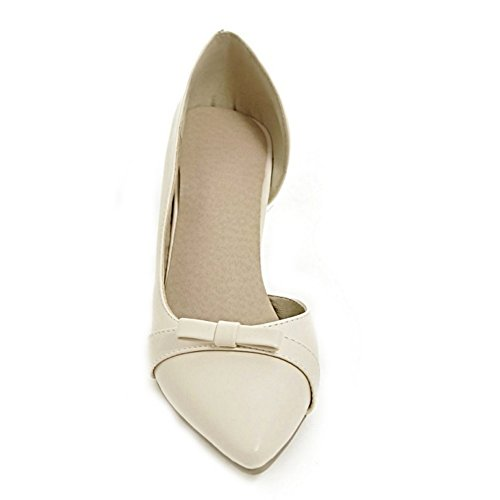 COOLCEPT Mujer Tacon Medio D'orsay Court sin Cordones Oficial Bombas Zapatos con Bowknot Beige