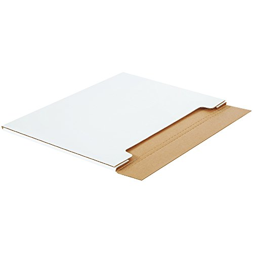 Boxes Fast BFML28221 Jumbo White Fold-Over Cardboard Mailers, 28 x 22 x 1/4 Inches, Easy Fold Mailers, Corrugated Die-Cut Shipping Boxes, Multi-Depth, Large White Mailing Boxes (Pack of 20) -