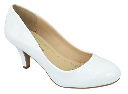 City Classified Comfort Women Classic Heel Pumps Closed Round Toe CARLOS White Patent 8 (City Leather White)